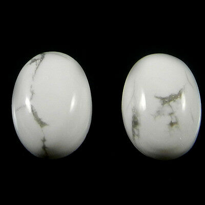 1 Pair Natural Howlite Gemstone 10x14mm Oval Cab 14.4 Cts Stones ER4193