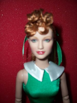 "Tonner Wizard of OZ 16"" Vinyl Red Hair Witch Doll in Green Body Suit,  NO Shoes"