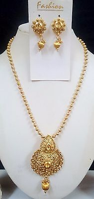 Traditional Bollywood Gold Tone Bridal Fashion Jewelry Necklace Earring Set