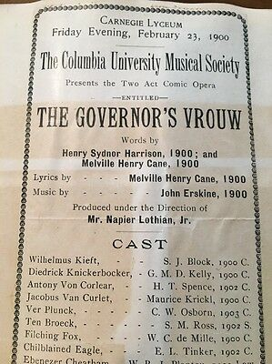 "Cecil B. De Mille Program When He Was A Stage Actor 1900 ""The Governor's Vrouw"""