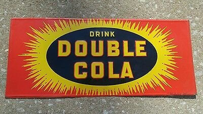 ORIGINAL 1939 DOUBLE COLA. BURST Metal Advertising Sign .AWESOME and  RARE.