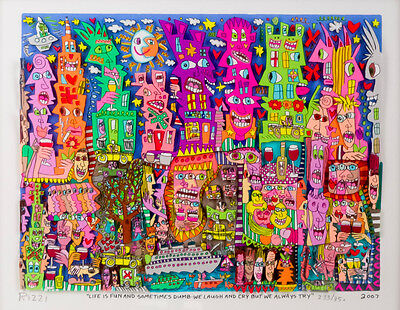 "Original 3 D Graphik James Rizzi "" LIFE IS FUN.."" HANDSIGNIERT vergriffen!"