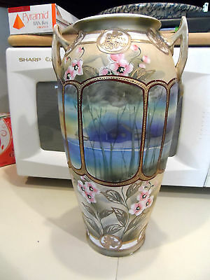 "12 1/4"" Vintage Hand Painted Moriage Scenery Handled Vase - Japan"