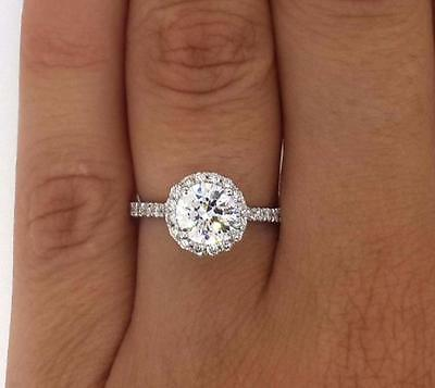 1.75 Ct Round Cut D/Si1 Diamond Solitaire Halo Engagement Ring 14K White Gold