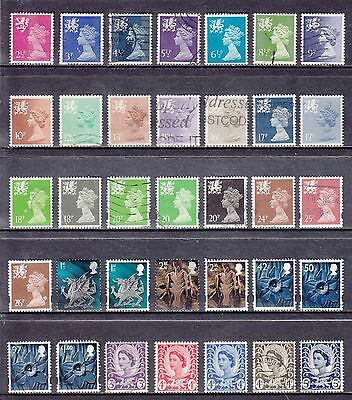 Collection Of 35 GB QEII WALES Regional Issues SG W Series Used Stamps