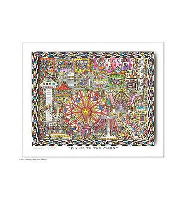 "Original James  Rizzi 3 D Bild ""Fly me to the moon"" NEU mit  Zertifikat"
