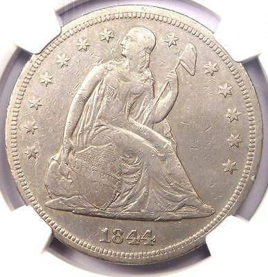 1844 Seated Liberty Silver Dollar $1 - NGC VF Details - Rare Certified Coin!