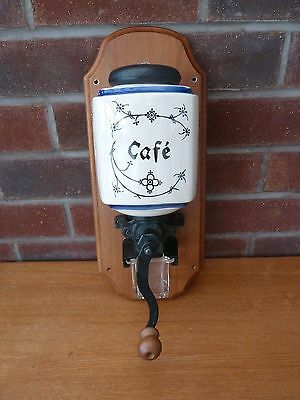 French Vintage Wall Coffee Grinder Blue Patterned
