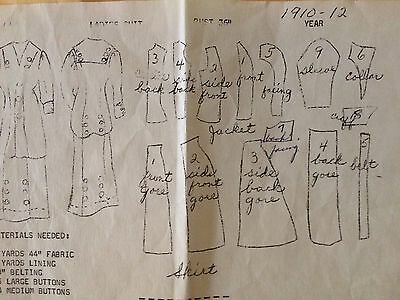 Vintage Sewing Pattern For 1910-1912 Two-Pc Dress, Bust 36