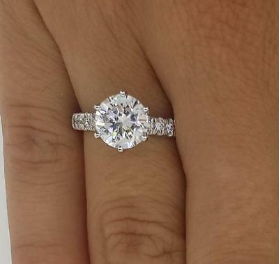 2 ct Round Cut Diamond Engagement Ring VS1/F 18K White Gold 261006