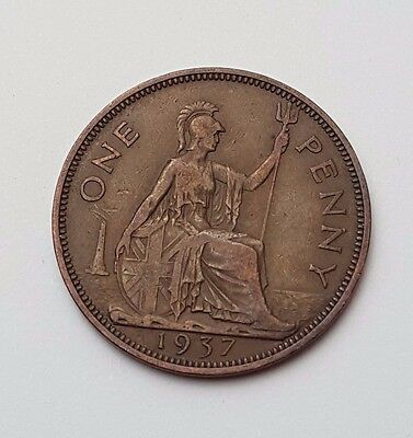 1937 - One Penny - Great Britain - King George VI - English UK Coin