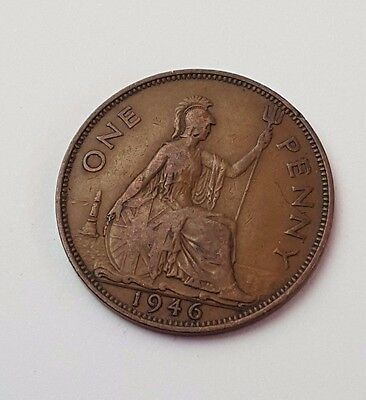 1946 - One Penny - Great Britain - King George VI - English UK Coin
