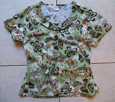 Cherokee BODY Scrub Top--Size Medium--Brown & Green Floral Print