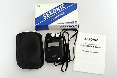 Sekonic Flashmate L-308B  Digital Light Exposure Meter & Case Mint Condition