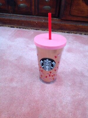 NEW 2017 Starbucks Valentines Day Cold Cup Gold Pink Hearts 16 oz