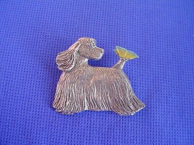 Cocker Spaniel Pin Butterfly #33C  Pewter Dog Jewelry