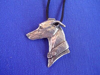Whippet Greyhound Head Study necklace 11C Pewter Dog Jewelry by Cindy A. Conter