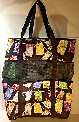 "Quilted Fabric Tote with Vinyl Mesh 19"" x 15"" x 6 """