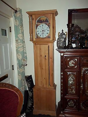 Long Case antique Style Grandfather Clock Solid Pine Battery Operated