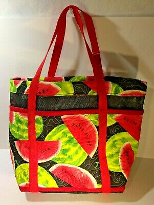 """Quilted Fabric Tote with Vinyl Mesh 14"""" x 20"""" x 6"""""""