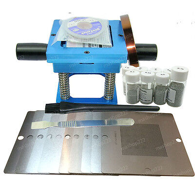 BGA Universal Blue 90X90mm Reballing Station + 10-stencil + 8-bottle Solder Ball