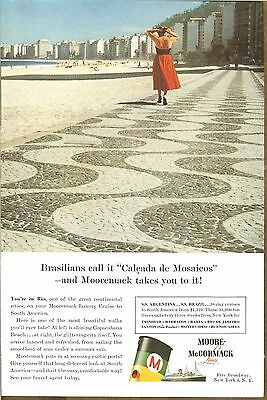 Vintage Moore - McCormack Lines Original  Magazine Ad 1956* Cruise Lines