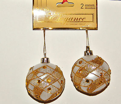 2 New Christmas Ornaments-Silver Ball With Silver & Gold Glitter And Rhinestones