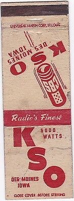 Vintage Matchbook Cover - Kso Des Moines Iowa - Radio's Finest