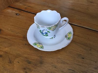 Miniature Cup and Saucer Set Occupied Japan Yellow Floral Design