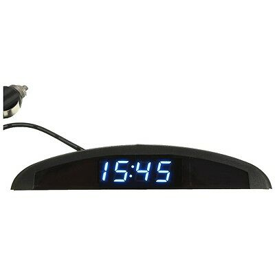 3-in-1 Car 12V Digital LED Voltmeter Temperature Watch Thermometer, Blue D6G5