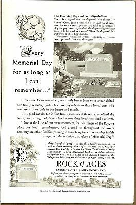 Vintage Rock of Ages Granite Family Monuments  - Original  Magazine Ad 1952