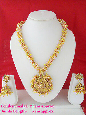 New Indian Fashion Jewelry Long Necklace Set Bollywood Ethnic Gold Plated Set