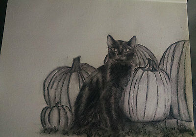 """""""THE BLACK CAT"""" Charcoal Drawing -Signed Original Unframed 11"""" x 14"""" Halloween"""