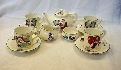 1920's Childs/Toy Teaset - Crown Ducal Nursery Rhyme Pattern Very sweet
