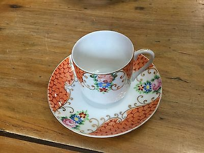 M B China Demitasse Cup and Saucer Occupied Japan