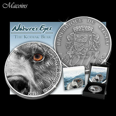 KODIAK BEAR NATURES EYES 2017 CONGO 2000 FRANCS 2 Oz ANTIQUED 999 SILVER COIN