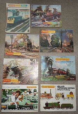 7 Triang Hornby Catalogues (editions 15-21) & Stephenson magazine & Triang book