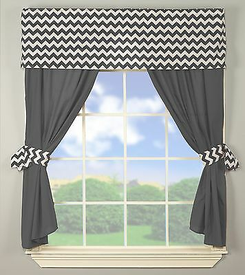 Baby Doll Bedding Chevron Window Valance and Curtain Set Grey