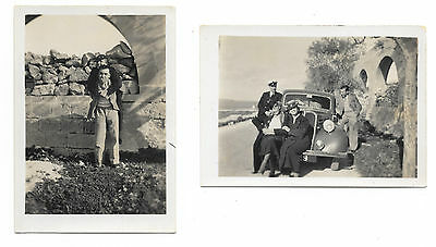 HMS Repulse - 2 Photographs of officers and wives on a trip in Malta 1937