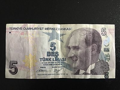 1X 5 Turkish Lira Banknote commemorative collectible Paper Money/Clean