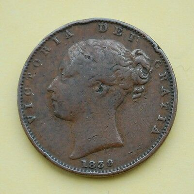 1839 Victoria Young Head Copper Farthing, DEF. Variety (F)