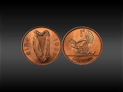 Irish 1D - Penny Coin - Hen with chicks and Harp scene 1968 - Uncirculated