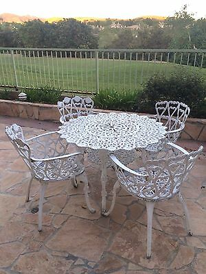 Vintage Cast Aluminum White Outdoor Patio Set with Table & 4 Chairs