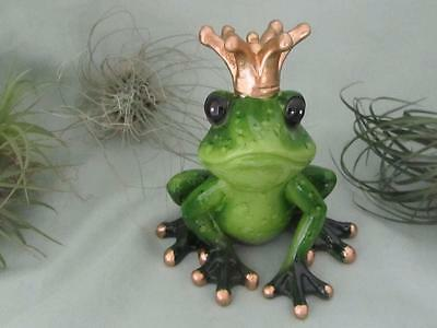 GREEN PRINCE FROG GOLD CROWN SMILING ROMANTIC RESIN Cute Whimsical Sculpture