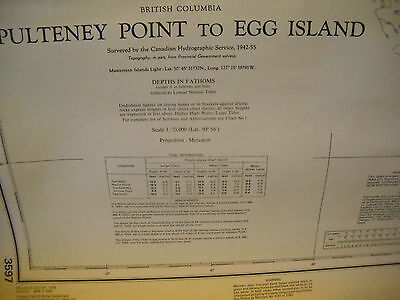Vintage Nautical Map British Columbia Pulteney Point To Egg Island Canada