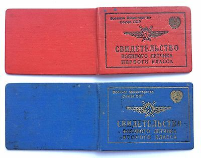 100% Original! Soviet Documents for Class Badges Military Pilot USSR
