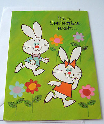 Unused Vtg Easter Card Cute Bunny Couple Playing in the Flowers