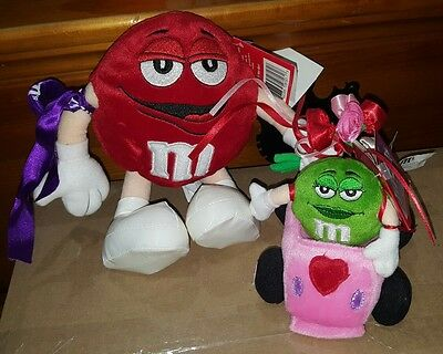 M & M Valentine's Red With Roses And Green In Vibrating Pink Car Stuffed Plush