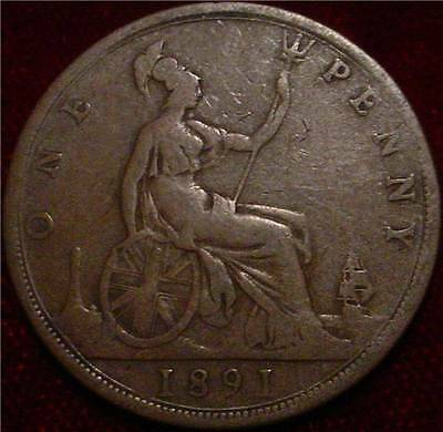 **old British Large Copper Penny 1891 Great Britain**nice Coin**