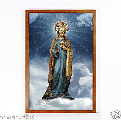 Catholic Church Portrait Jesus Cross Christian Blessed Wood Brown Frame Gift A